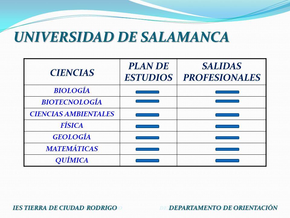 CIENCIAS PLAN DE ESTUDIOS SALIDAS PROFESIONALES BIOLOGÍA BIOTECNOLOGÍA CIENCIAS AMBIENTALES FÍSICA GEOLOGÍA MATEMÁTICAS QUÍMICA IES TIERRA DE CIUDAD R
