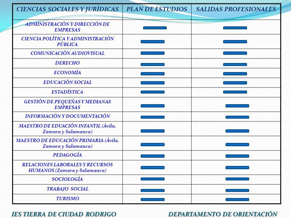 CIENCIAS SOCIALES Y JURÍDICASPLAN DE ESTUDIOSSALIDAS PROFESIONALES ADMINISTRACIÓN Y DIRECCIÓN DE EMPRESAS CIENCIA POLÍTICA Y ADMINISTRACIÓN PÚBLICA CO