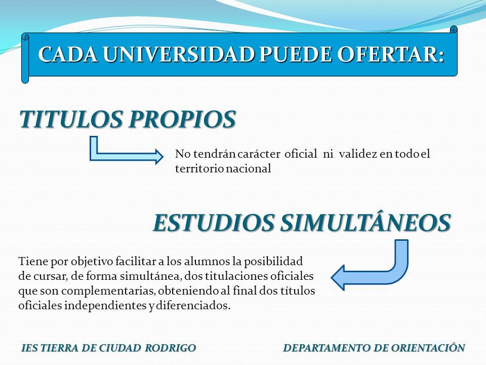 TITULOS PROPIOS ESTUDIOS SIMULTÁNEOS No tendrán carácter oficial ni validez en todo el territorio nacional Tiene por objetivo facilitar a los alumnos