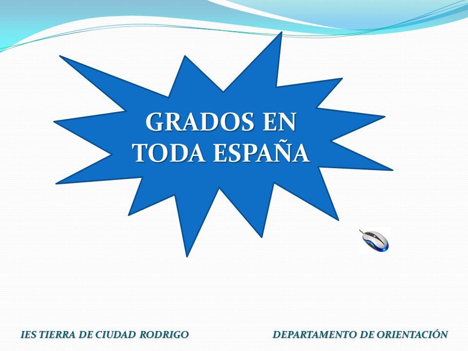 IES TIERRA DE CIUDAD RODRIGO DEPARTAMENTO DE ORIENTACIÓN GRADOS EN TODA ESPAÑA GRADOS EN TODA ESPAÑA