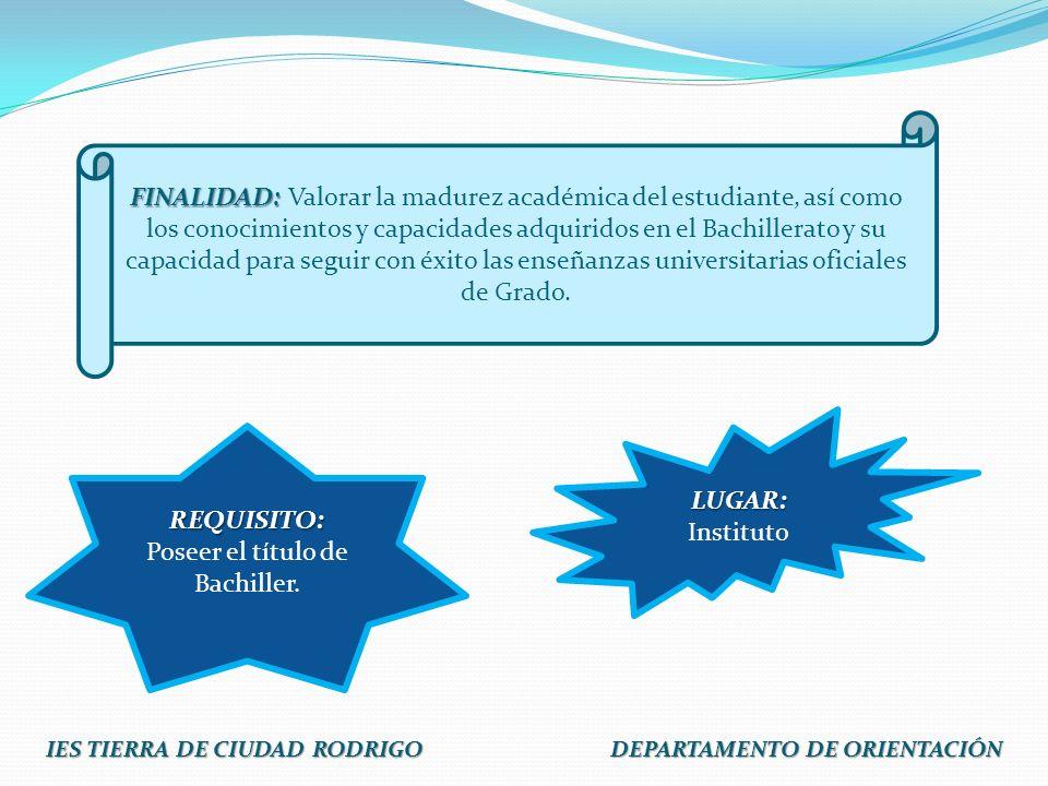 Lengua Castellana y Literatura Historia de la Filosofía o Historia de España Lengua extranjera: Para el año 2011/2012 se valorará la comprensión y expresión oral.