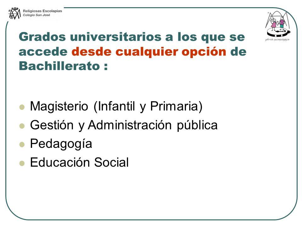 Grados universitarios a los que se accede desde cualquier opción de Bachillerato : Magisterio (Infantil y Primaria) Gestión y Administración pública P
