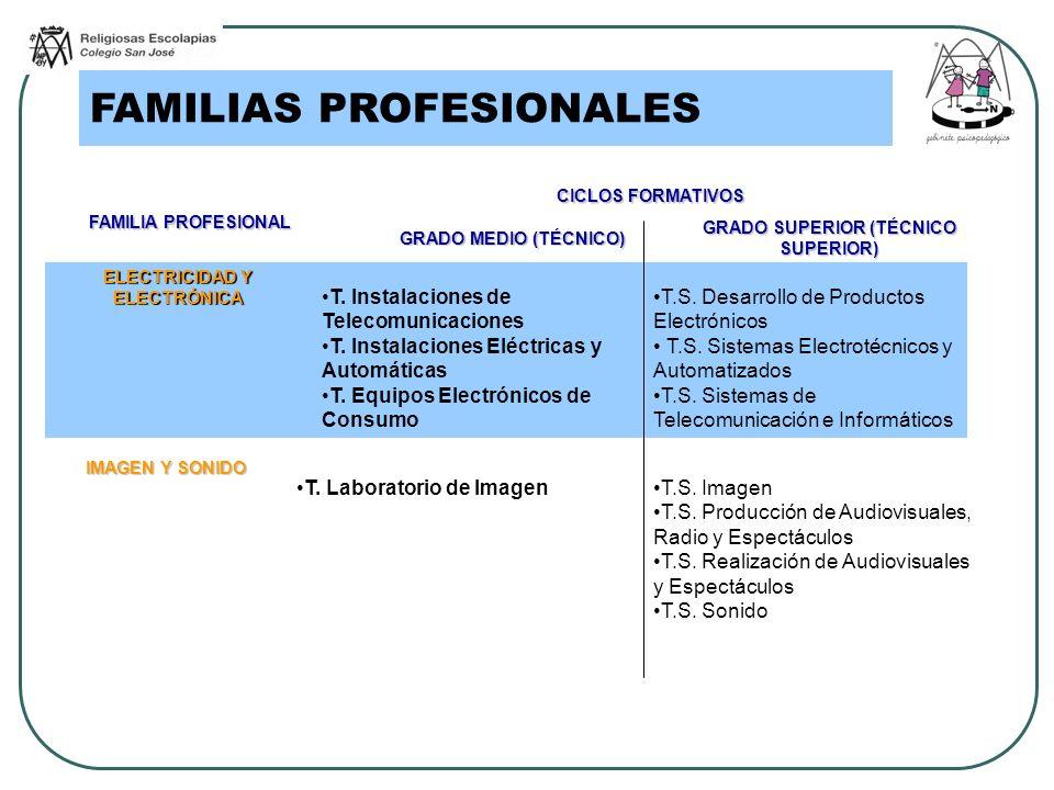 FAMILIAS PROFESIONALES FAMILIA PROFESIONAL CICLOS FORMATIVOS GRADO MEDIO (TÉCNICO) GRADO SUPERIOR (TÉCNICO SUPERIOR) ELECTRICIDAD Y ELECTRÓNICA T. Ins