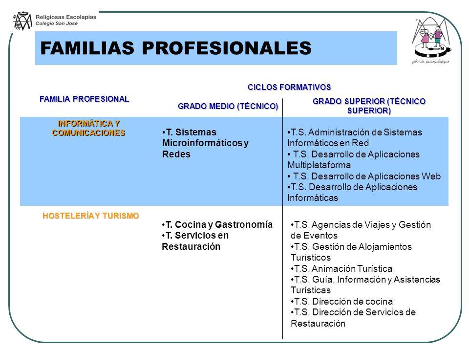 FAMILIAS PROFESIONALES FAMILIA PROFESIONAL CICLOS FORMATIVOS GRADO MEDIO (TÉCNICO) GRADO SUPERIOR (TÉCNICO SUPERIOR) INFORMÁTICA Y COMUNICACIONES T. S