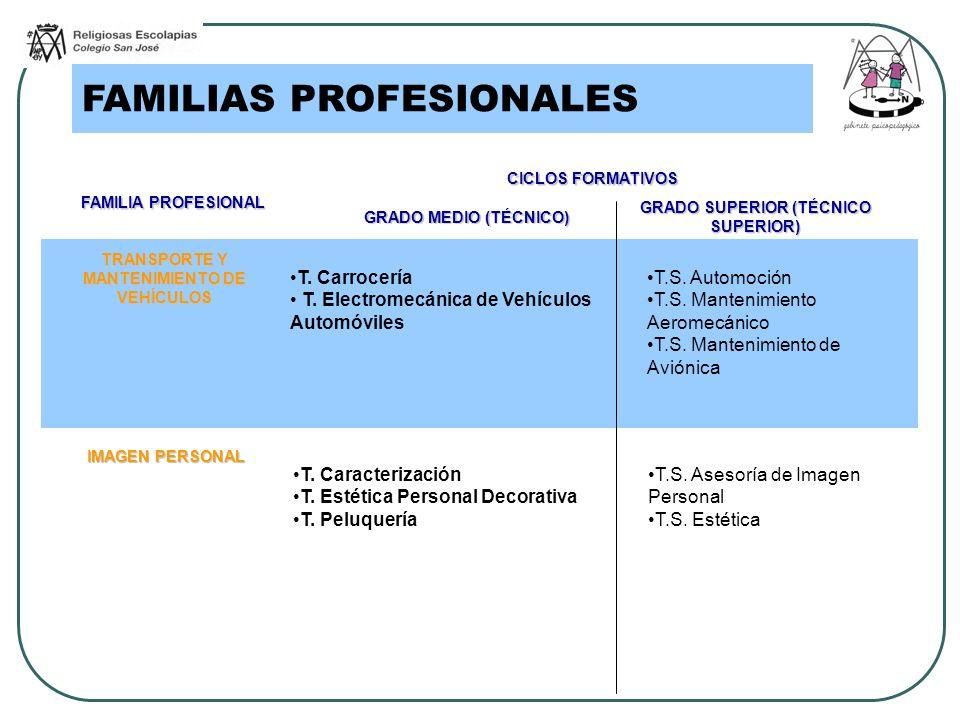 FAMILIAS PROFESIONALES FAMILIA PROFESIONAL CICLOS FORMATIVOS GRADO MEDIO (TÉCNICO) GRADO SUPERIOR (TÉCNICO SUPERIOR) TRANSPORTE Y MANTENIMIENTO DE VEH