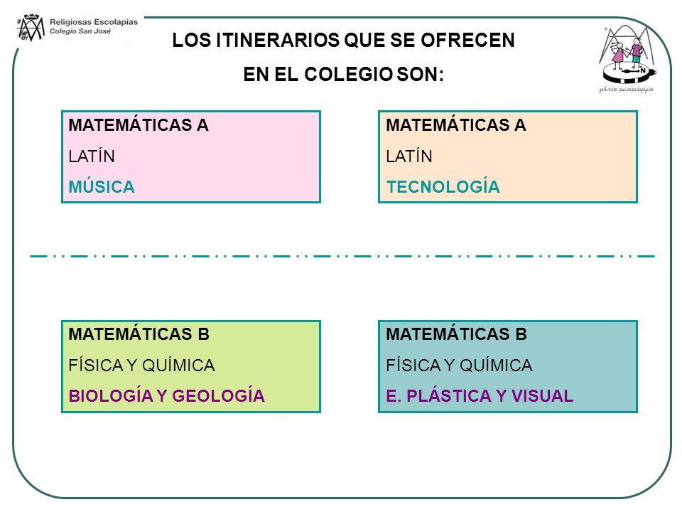 En todos los itinerarios los alumnos cursarán dos asignaturas optativas (una de cada grupo) entre: ASIGNATURAS OPTATIVAS (dos) FRANCÉS 3h O INFORMÁTICA 3h TRABAJO MONOGRÁFICO DE INVESTIGACIÓN 1h O INGLÉS PRÁCTICO (SPEAKING) 1h