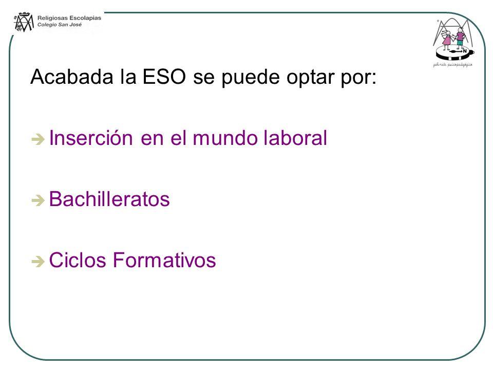 Acabada la ESO se puede optar por: Inserción en el mundo laboral Bachilleratos Ciclos Formativos