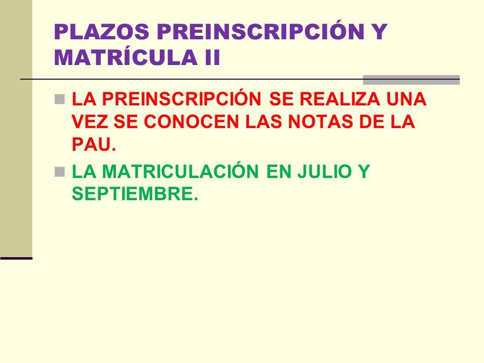 PLAZOS PREINSCRIPCIÓN Y MATRÍCULA DEBES CONSULTAR EN LAS WEB DE LAS UNIVERSIDADES.