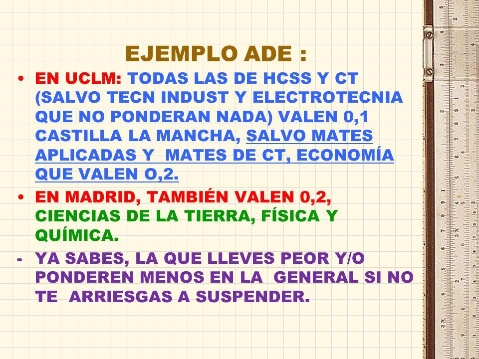 EJEMPLO PERIODISMO : TODAS VALEN 0,1 CASTILLA LA MANCHA TODAS LAS MATERIAS DEHUMANIDADES Y CIENCIAS SOCIALES Y LA MAYORÍA DE CT VALEN 0,2 EN MADRID -SOLO TIENES QUE VALORAR LAS POSIBLES NOTAS QUE SAQUES.