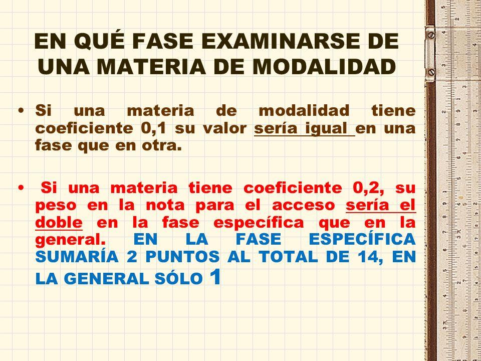 Consideraciones FASE ESPECÍFICA Si a ó b son 0,1 la nota puede subir hasta 1 punto por materia Si a ó b son 0,2 la nota puede subir hasta 2 puntos por materia La puntuación total máxima de la nota de admisión podría llegar a ser 14.