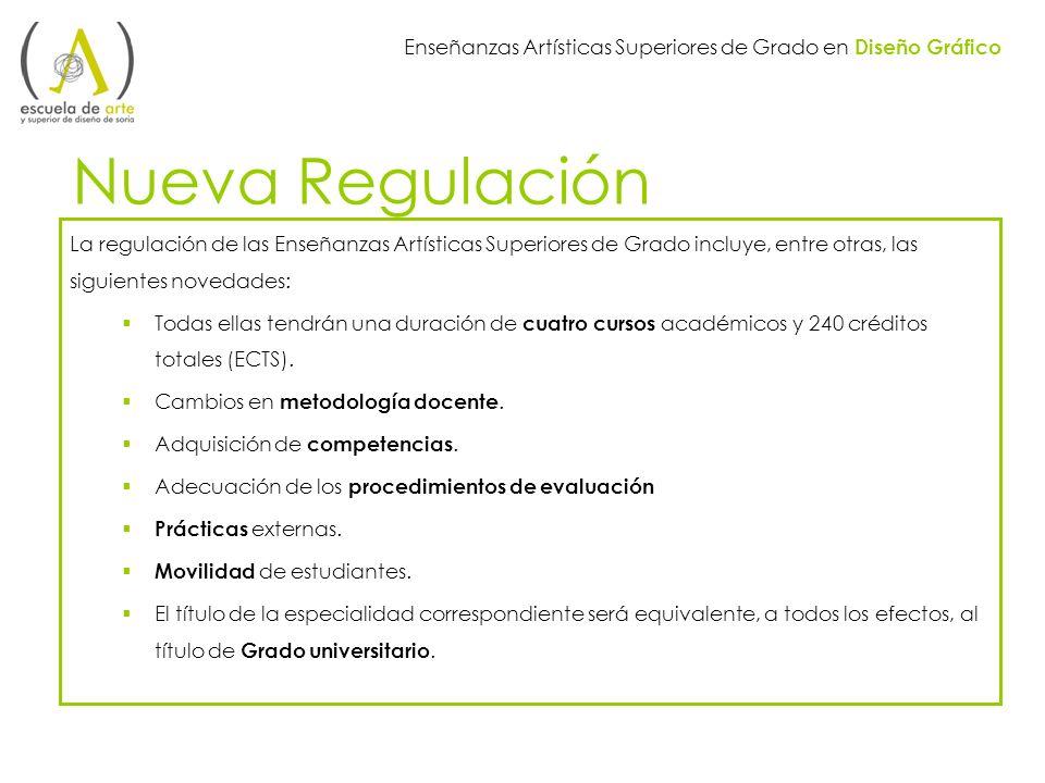 Enseñanzas Artísticas Superiores de Grado en Diseño Gráfico Nueva Regulación La regulación de las Enseñanzas Artísticas Superiores de Grado incluye, e
