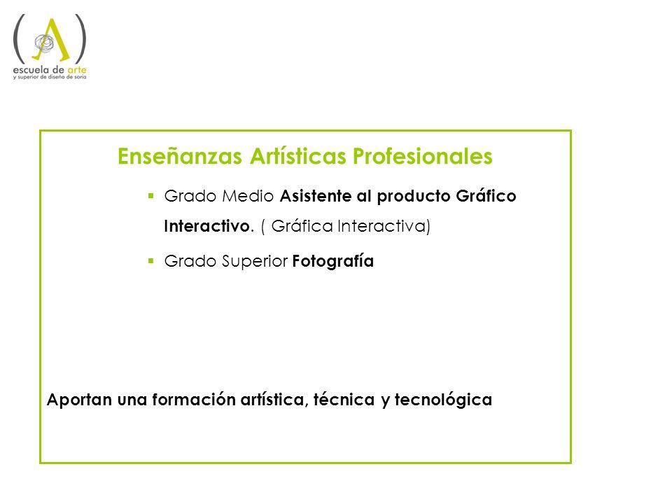 Enseñanzas Artística Profesionales de Grado Medio Asistente al Producto Gráfico Interactivo