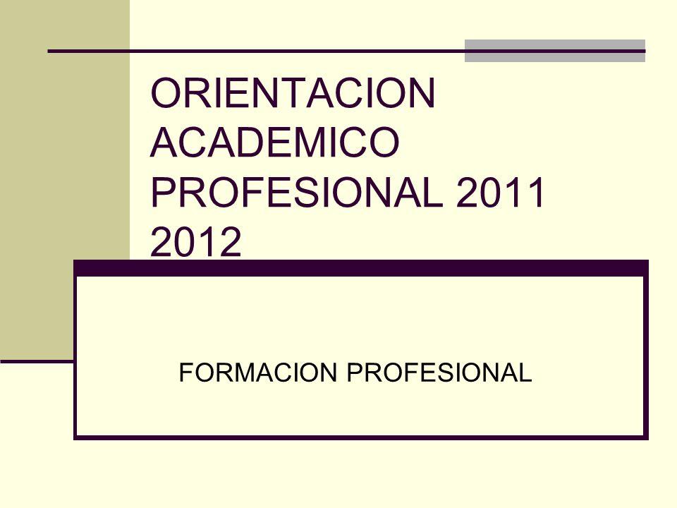 ORIENTACION ACADEMICO PROFESIONAL 2011 2012 FORMACION PROFESIONAL