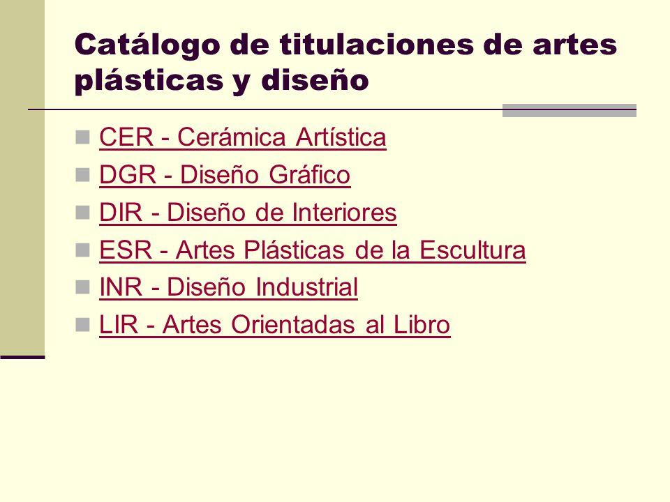 Catálogo de titulaciones de artes plásticas y diseño CER - Cerámica Artística DGR - Diseño Gráfico DIR - Diseño de Interiores ESR - Artes Plásticas de