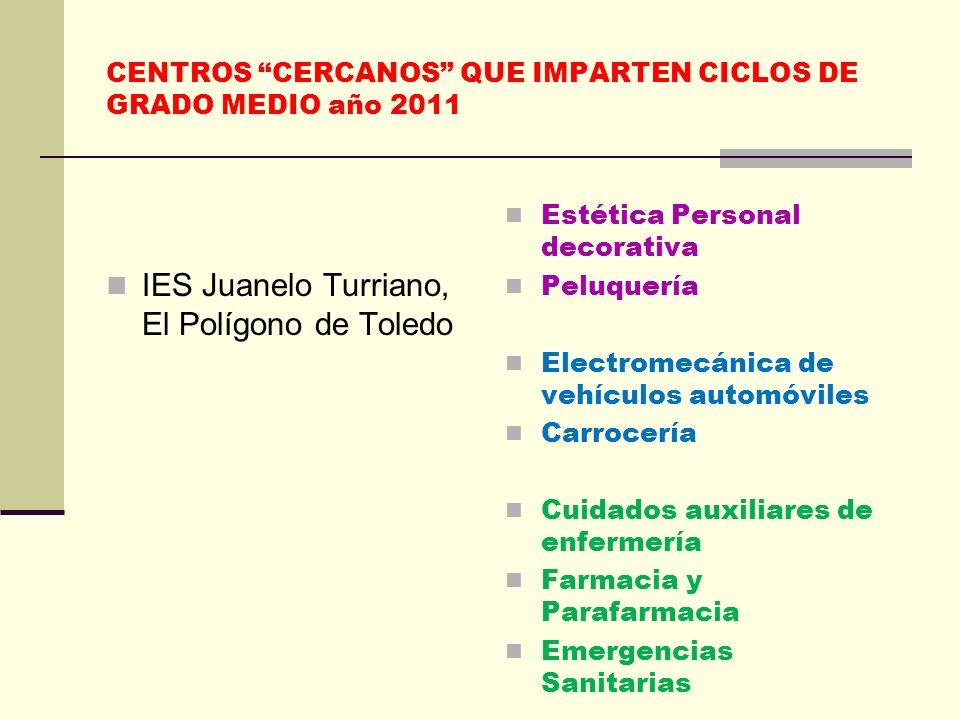 CENTROS CERCANOS QUE IMPARTEN CICLOS DE GRADO MEDIO año 2011 IES Juanelo Turriano, El Polígono de Toledo Estética Personal decorativa Peluquería Elect