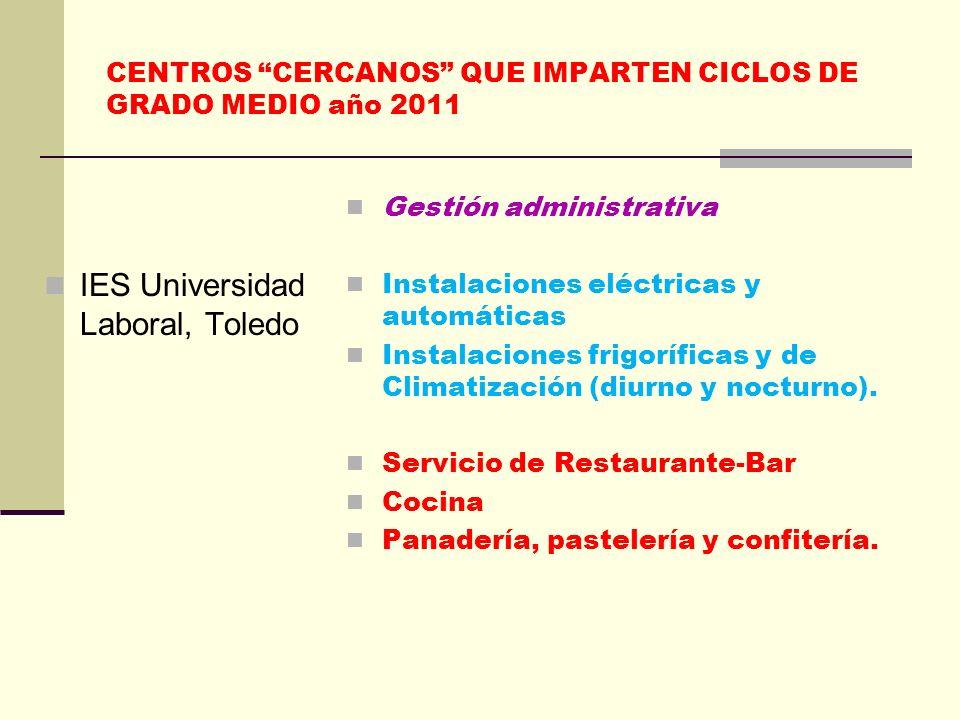 CENTROS CERCANOS QUE IMPARTEN CICLOS DE GRADO MEDIO año 2011 IES Universidad Laboral, Toledo Gestión administrativa Instalaciones eléctricas y automát
