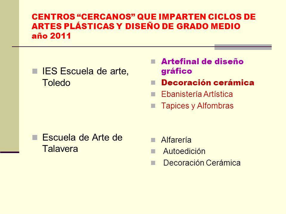 CENTROS CERCANOS QUE IMPARTEN CICLOS DE ARTES PLÁSTICAS Y DISEÑO DE GRADO MEDIO año 2011 IES Escuela de arte, Toledo Escuela de Arte de Talavera Artef