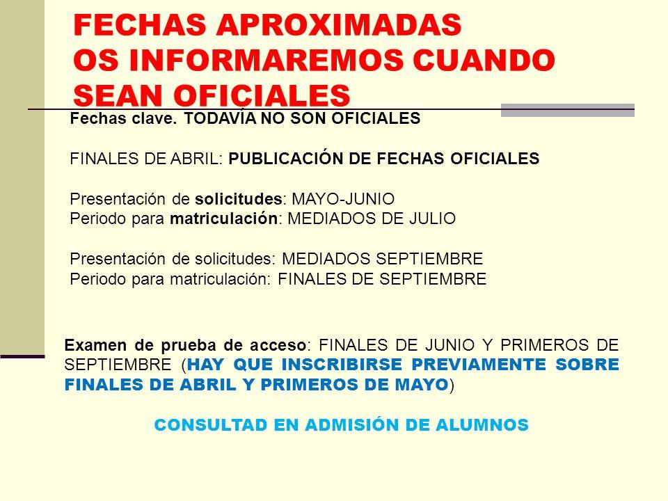 FECHAS APROXIMADAS OS INFORMAREMOS CUANDO SEAN OFICIALES Fechas clave. TODAVÍA NO SON OFICIALES FINALES DE ABRIL: PUBLICACIÓN DE FECHAS OFICIALES Pres