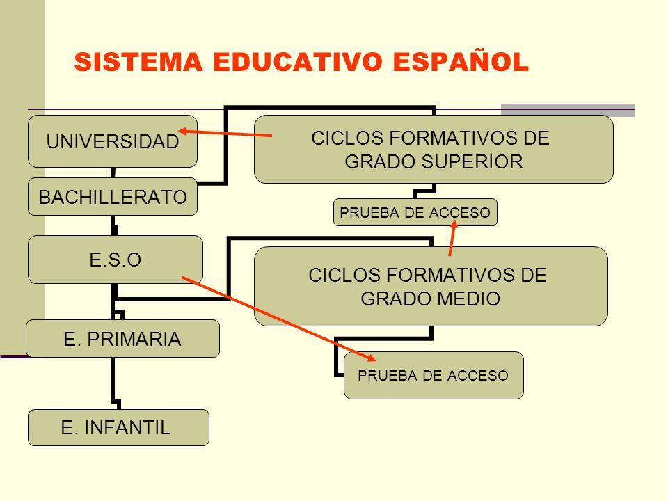 SISTEMA EDUCATIVO ESPAÑOL UNIVERSIDAD E.S.O CICLOS FORMATIVOS DE GRADO MEDIO PRUEBA DE ACCESO E. PRIMARIAE. INFANTIL CICLOS FORMATIVOS DE GRADO SUPERI