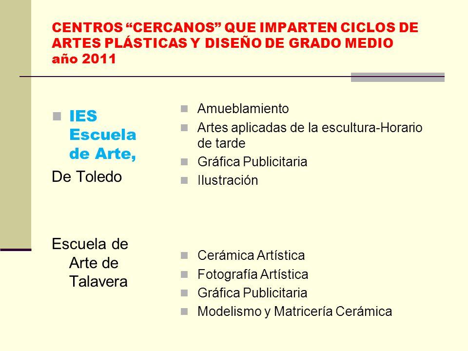 CENTROS CERCANOS QUE IMPARTEN CICLOS DE ARTES PLÁSTICAS Y DISEÑO DE GRADO MEDIO año 2011 IES Escuela de Arte, De Toledo Escuela de Arte de Talavera Am