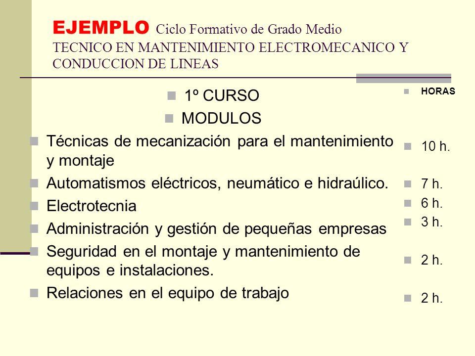 EJEMPLO Ciclo Formativo de Grado Medio TECNICO EN MANTENIMIENTO ELECTROMECANICO Y CONDUCCION DE LINEAS 1º CURSO MODULOS Técnicas de mecanización para