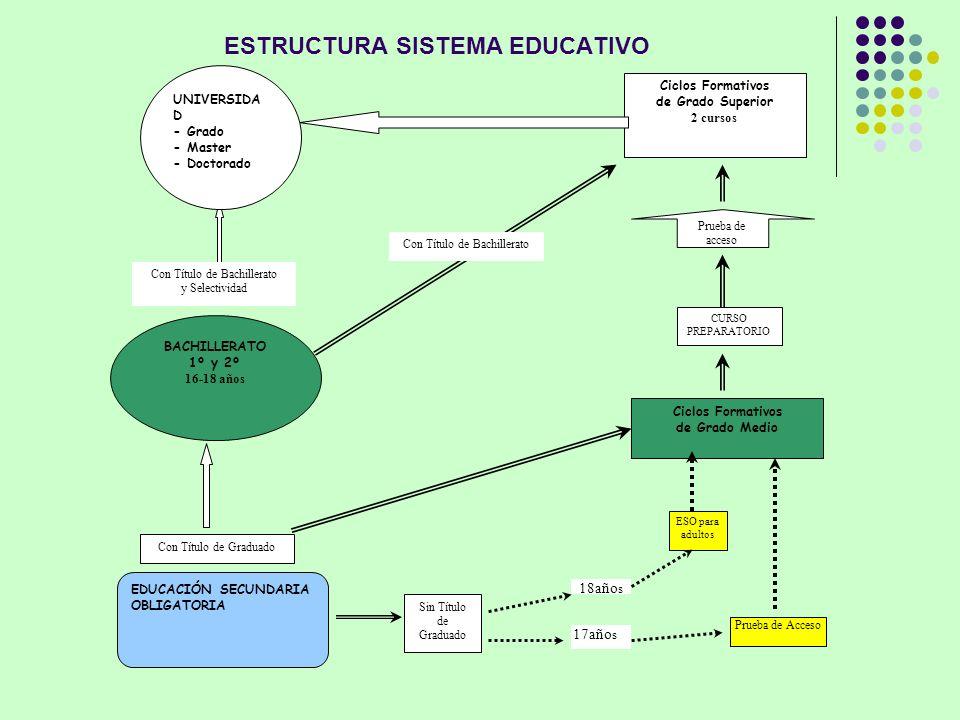 Ciclos Formativos de Grado Medio Ciclos Formativos de Grado Superior 2 cursos EDUCACIÓN SECUNDARIA OBLIGATORIA BACHILLERATO 1º y 2º 16-18 años Prueba