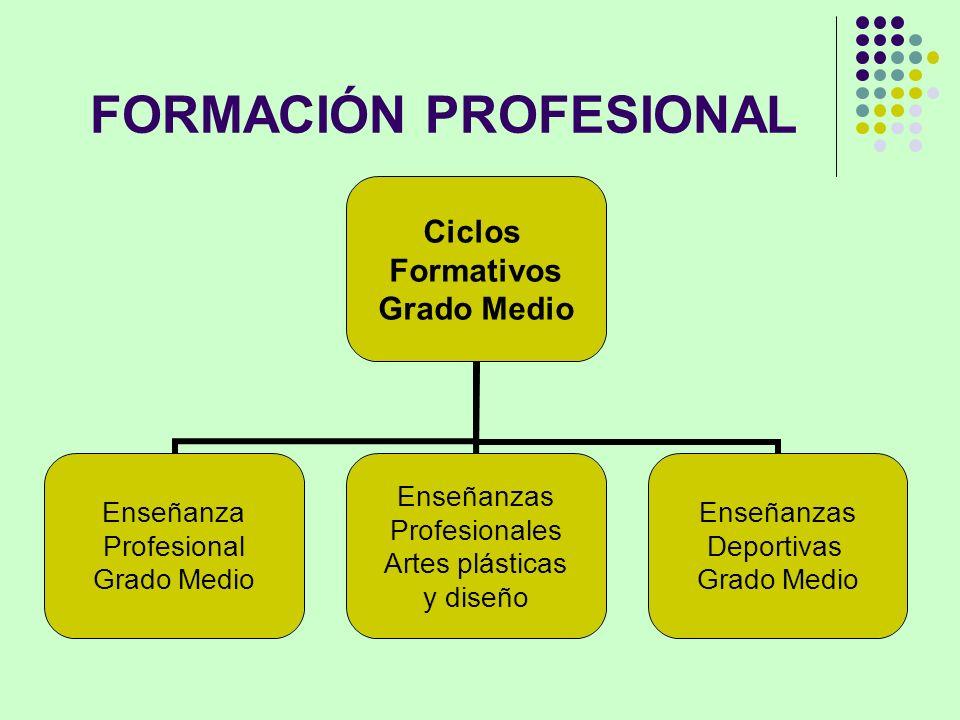 FORMACIÓN PROFESIONAL Ciclos Formativos Grado Medio Enseñanza Profesional Grado Medio Enseñanzas Profesionales Artes plásticas y diseño Enseñanzas Dep