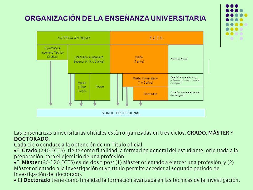 ORGANIZACIÓN DE LA ENSEÑANZA UNIVERSITARIA Las enseñanzas universitarias oficiales están organizadas en tres ciclos: GRADO, MÁSTER Y DOCTORADO. Cada c