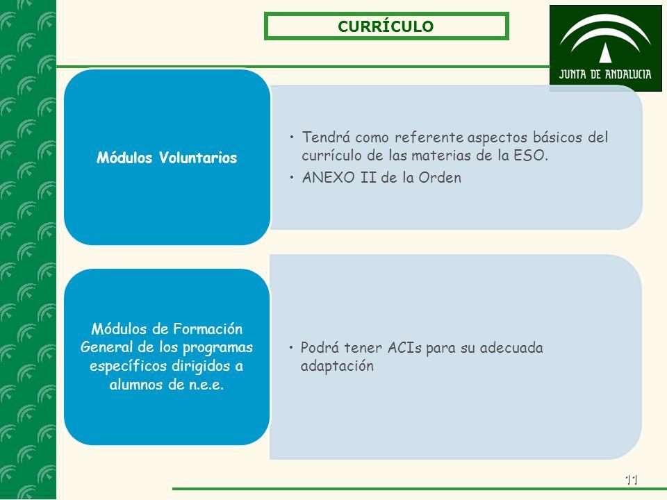 11 CURRÍCULO Tendrá como referente aspectos básicos del currículo de las materias de la ESO.Tendrá como referente aspectos básicos del currículo de las materias de la ESO.