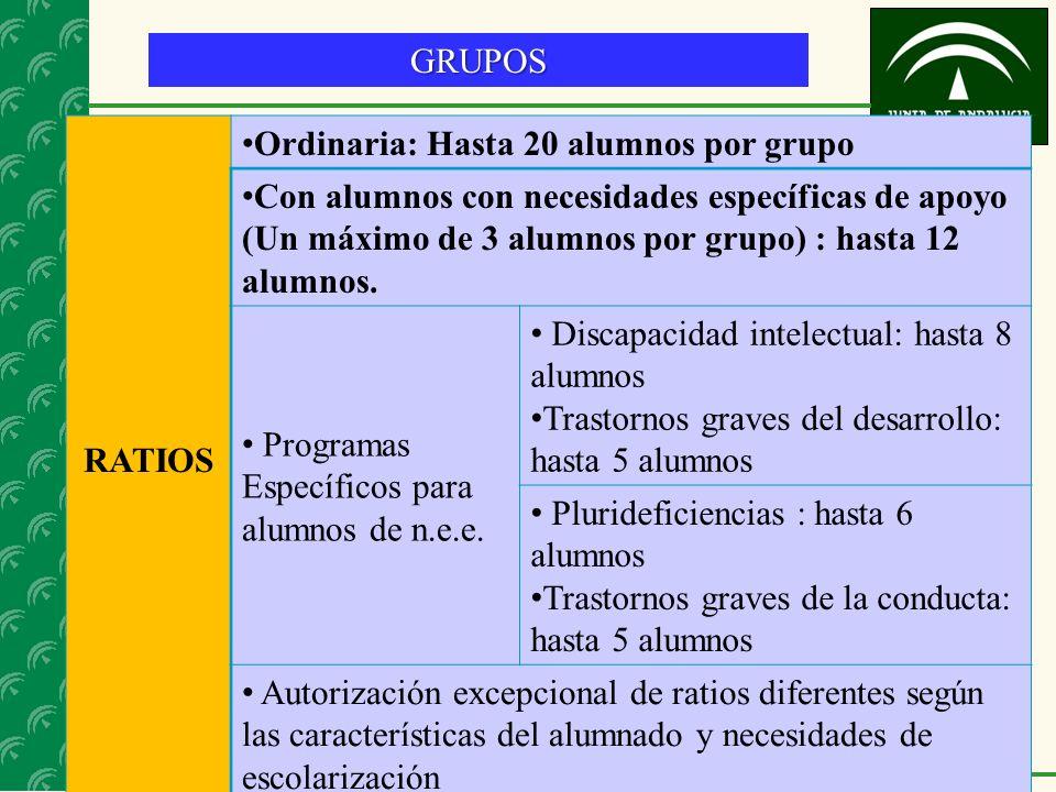 17 GRUPOS RATIOS Ordinaria: Hasta 20 alumnos por grupo Con alumnos con necesidades específicas de apoyo (Un máximo de 3 alumnos por grupo) : hasta 12 alumnos.
