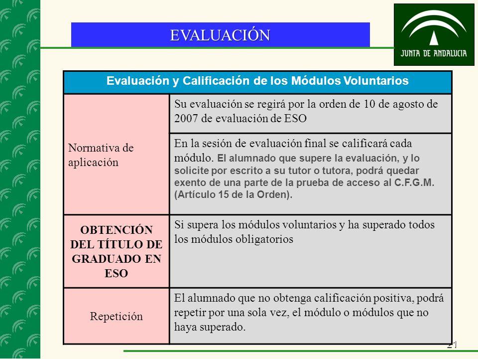 21 EVALUACIÓN Evaluación y Calificación de los Módulos Voluntarios Normativa de aplicación Su evaluación se regirá por la orden de 10 de agosto de 2007 de evaluación de ESO En la sesión de evaluación final se calificará cada módulo.