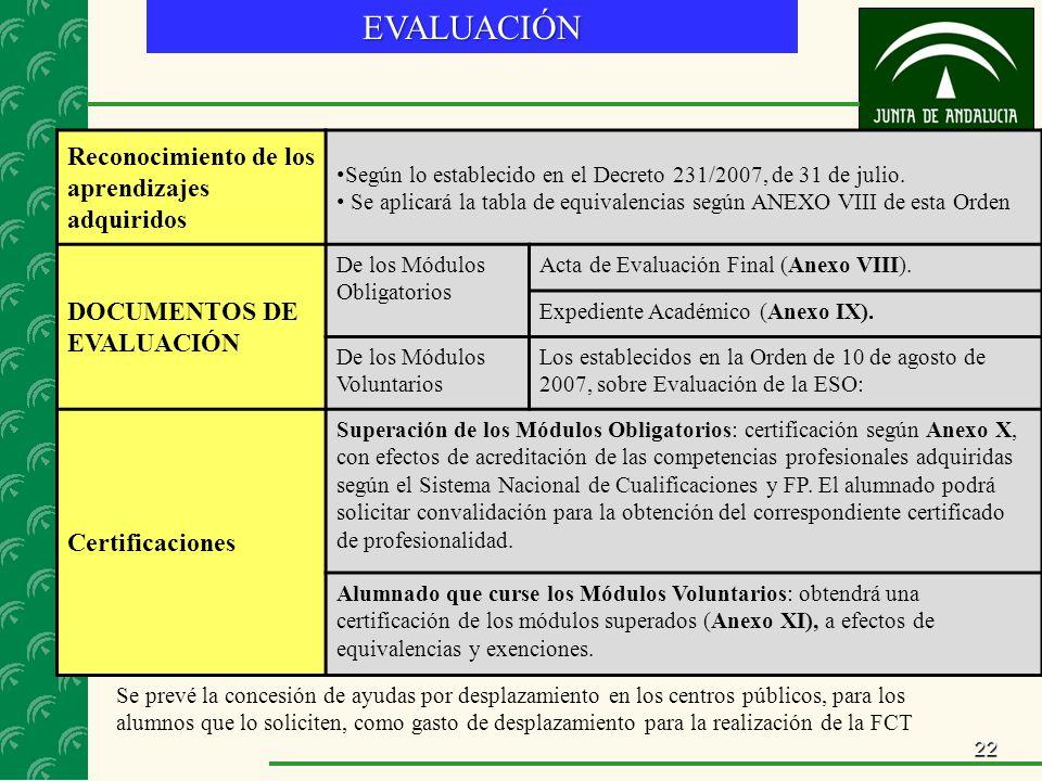 22EVALUACIÓN Reconocimiento de los aprendizajes adquiridos Según lo establecido en el Decreto 231/2007, de 31 de julio.