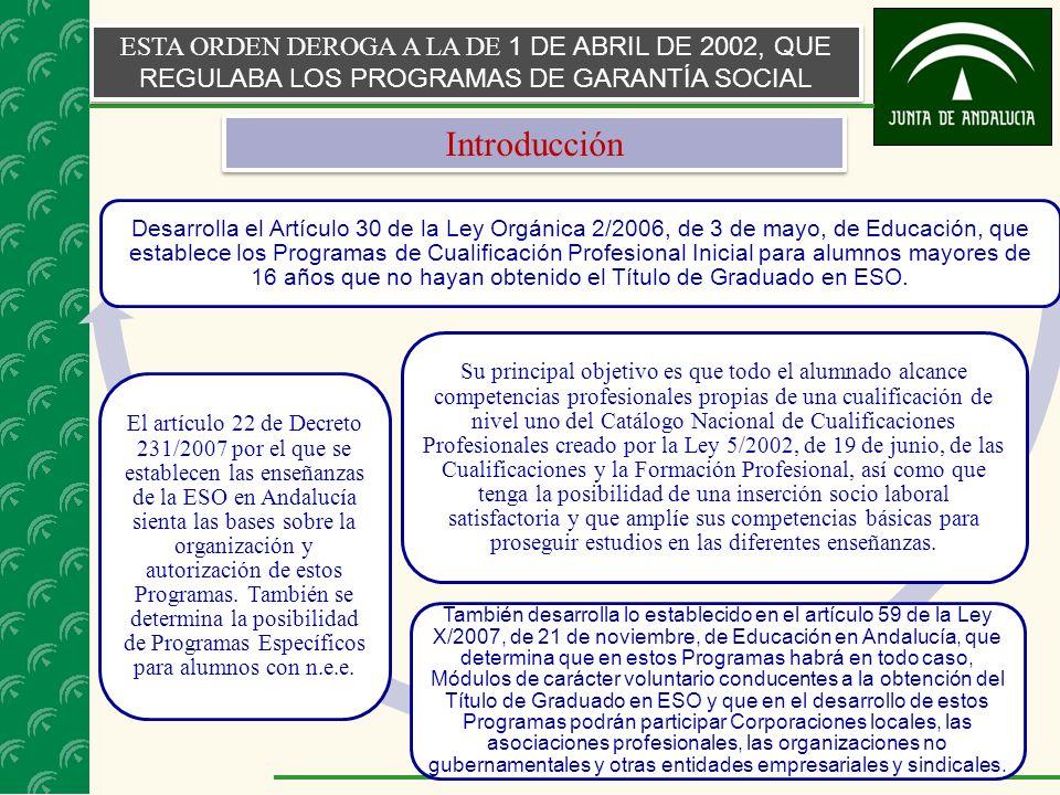 3 ESTA ORDEN DEROGA A LA DE 1 DE ABRIL DE 2002, QUE REGULABA LOS PROGRAMAS DE GARANTÍA SOCIAL Desarrolla el Artículo 30 de la Ley Orgánica 2/2006, de 3 de mayo, de Educación, que establece los Programas de Cualificación Profesional Inicial para alumnos mayores de 16 años que no hayan obtenido el Título de Graduado en ESO.