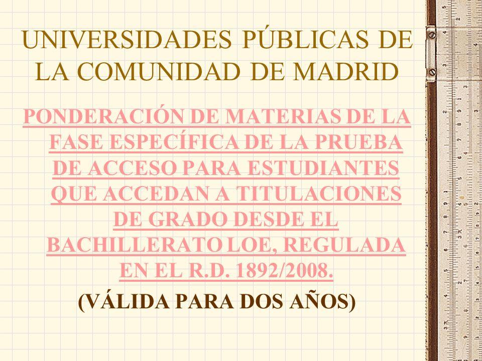 UNIVERSIDADES PÚBLICAS DE LA COMUNIDAD DE MADRID PONDERACIÓN DE MATERIAS DE LA FASE ESPECÍFICA DE LA PRUEBA DE ACCESO PARA ESTUDIANTES QUE ACCEDAN A TITULACIONES DE GRADO DESDE EL BACHILLERATO LOE, REGULADA EN EL R.D.