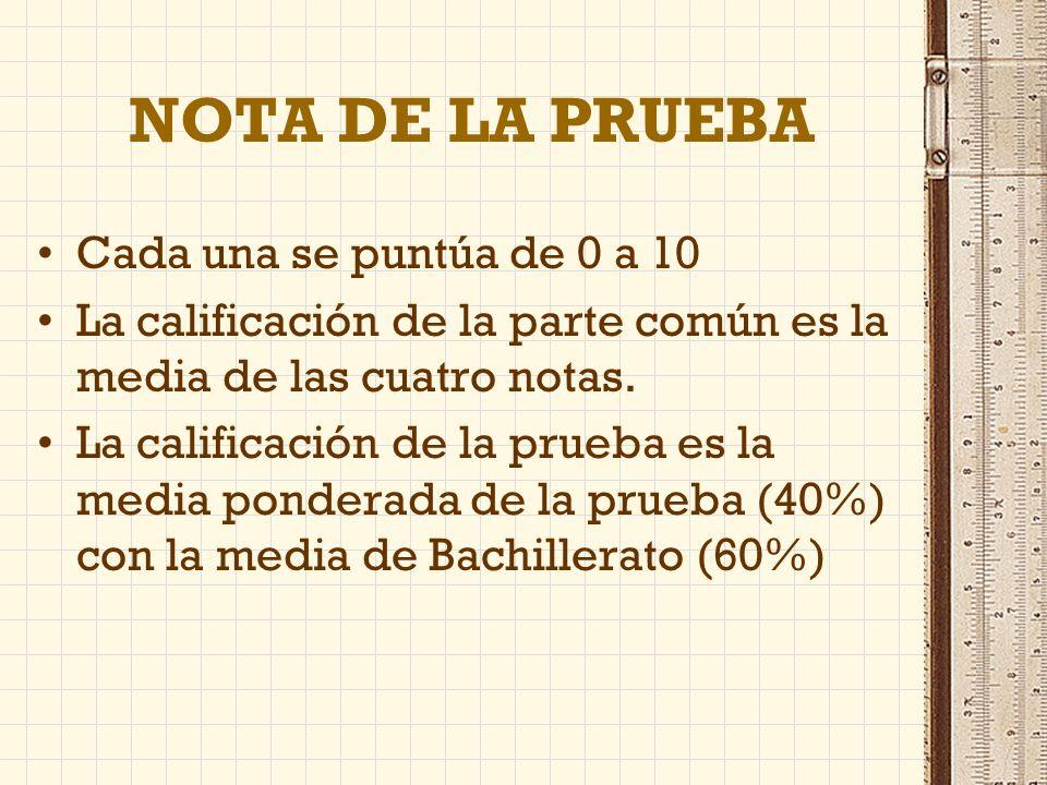 NOTA DE LA PRUEBA Cada una se puntúa de 0 a 10 La calificación de la parte común es la media de las cuatro notas.