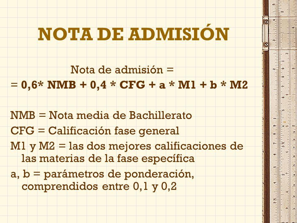 NOTA DE ADMISIÓN Nota de admisión = = 0,6* NMB + 0,4 * CFG + a * M1 + b * M2 NMB = Nota media de Bachillerato CFG = Calificación fase general M1 y M2 = las dos mejores calificaciones de las materias de la fase específica a, b = parámetros de ponderación, comprendidos entre 0,1 y 0,2