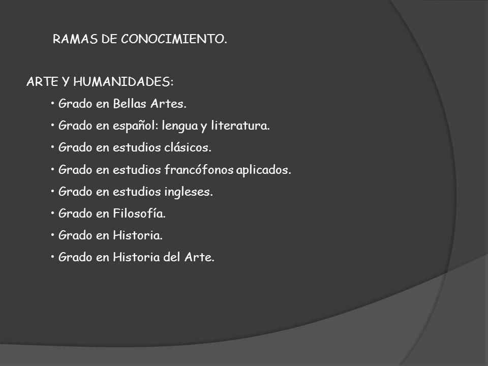 RAMAS DE CONOCIMIENTO. ARTE Y HUMANIDADES: Grado en Bellas Artes. Grado en español: lengua y literatura. Grado en estudios clásicos. Grado en estudios