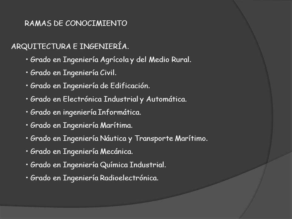 RAMAS DE CONOCIMIENTO ARQUITECTURA E INGENIERÍA. Grado en Ingeniería Agrícola y del Medio Rural. Grado en Ingeniería Civil. Grado en Ingeniería de Edi