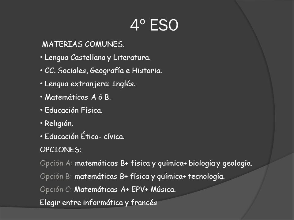 MATERIAS COMUNES. Lengua Castellana y Literatura. CC. Sociales, Geografía e Historia. Lengua extranjera: Inglés. Matemáticas A ó B. Educación Física.