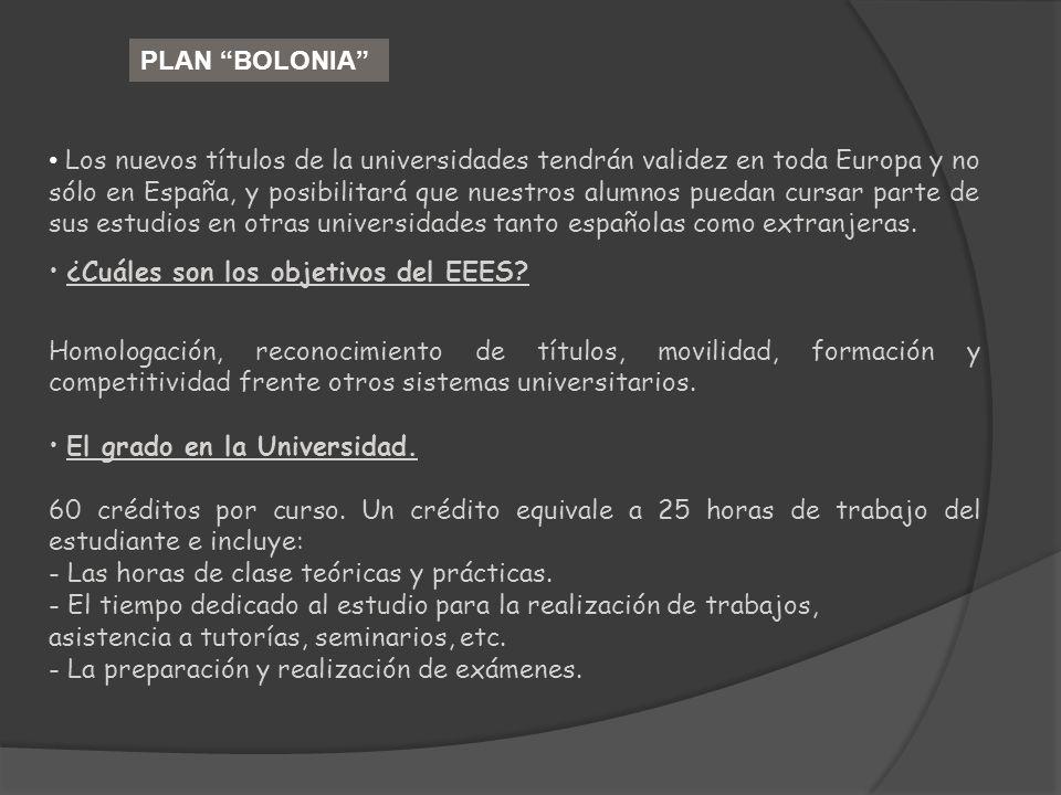 PLAN BOLONIA Los nuevos títulos de la universidades tendrán validez en toda Europa y no sólo en España, y posibilitará que nuestros alumnos puedan cur