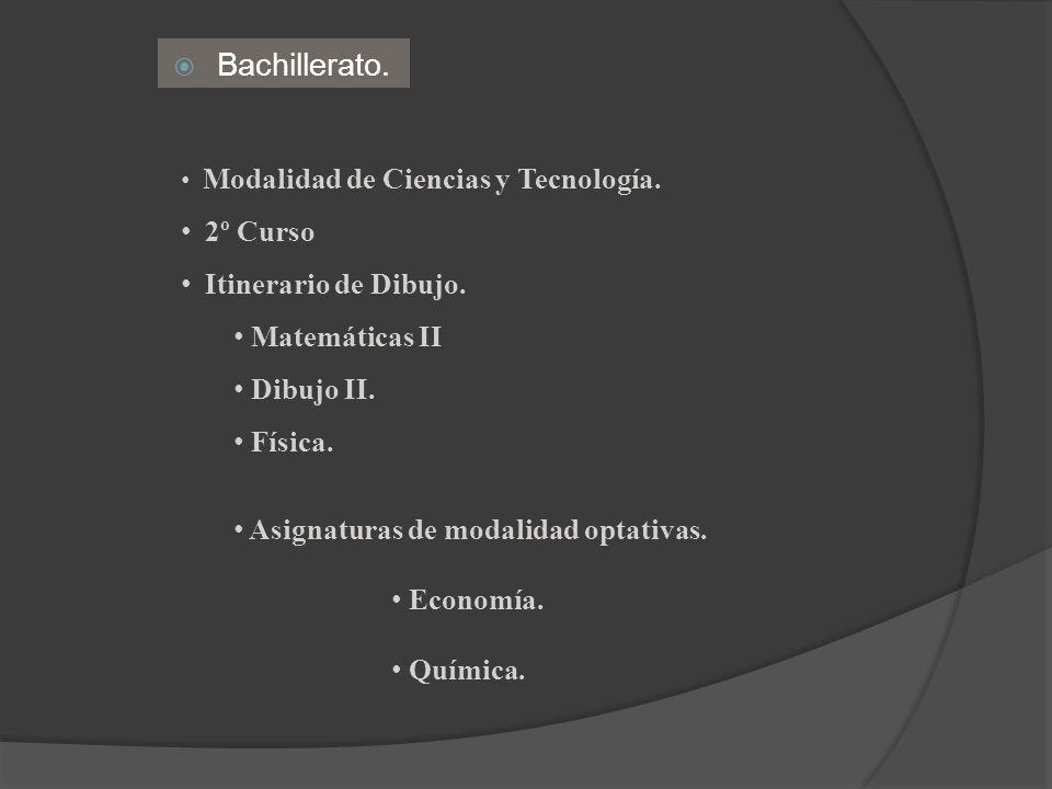 Bachillerato. Modalidad de Ciencias y Tecnología. 2º Curso Itinerario de Dibujo. Matemáticas II Dibujo II. Física. Asignaturas de modalidad optativas.