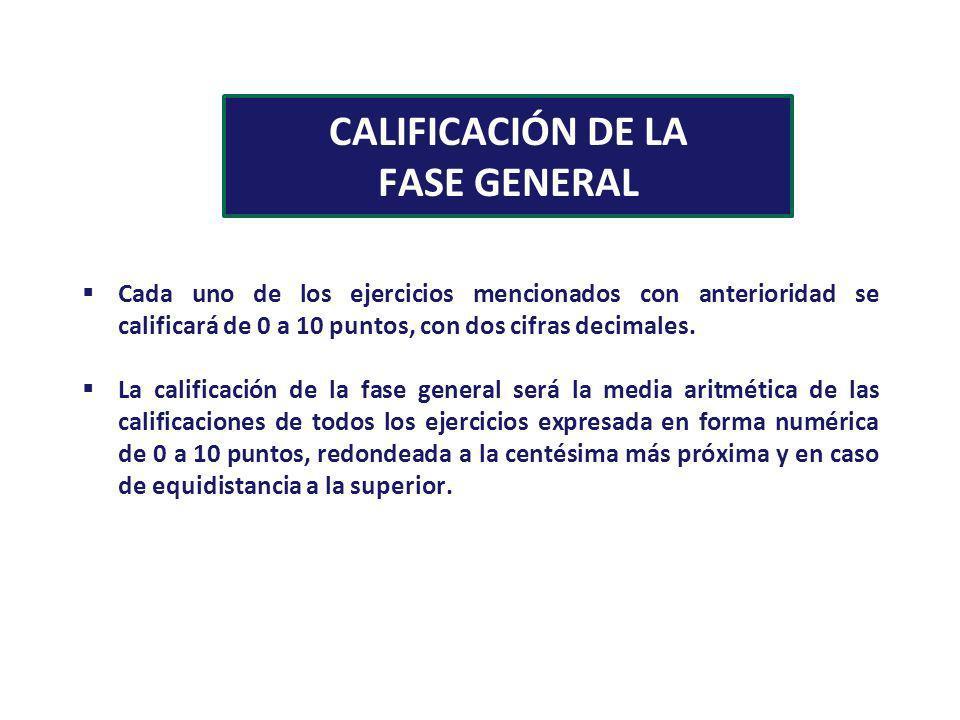 CALIFICACIÓN DE LA FASE GENERAL Cada uno de los ejercicios mencionados con anterioridad se calificará de 0 a 10 puntos, con dos cifras decimales. La c
