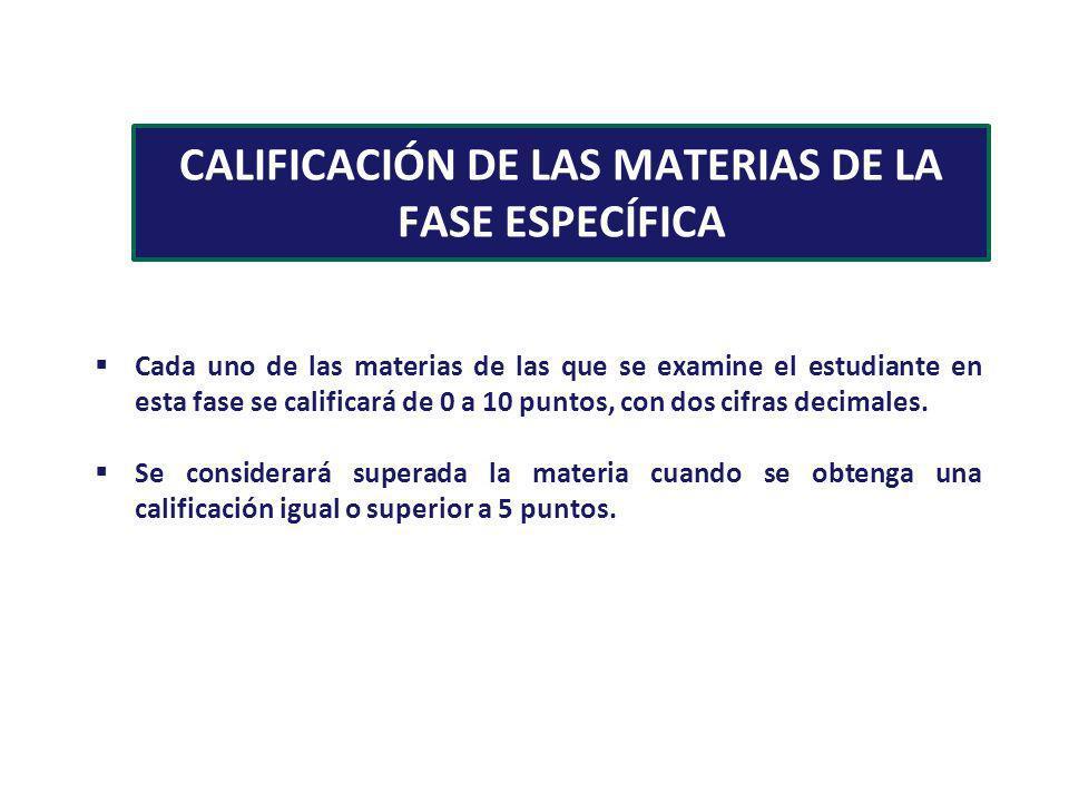 CALIFICACIÓN DE LAS MATERIAS DE LA FASE ESPECÍFICA Cada uno de las materias de las que se examine el estudiante en esta fase se calificará de 0 a 10 p