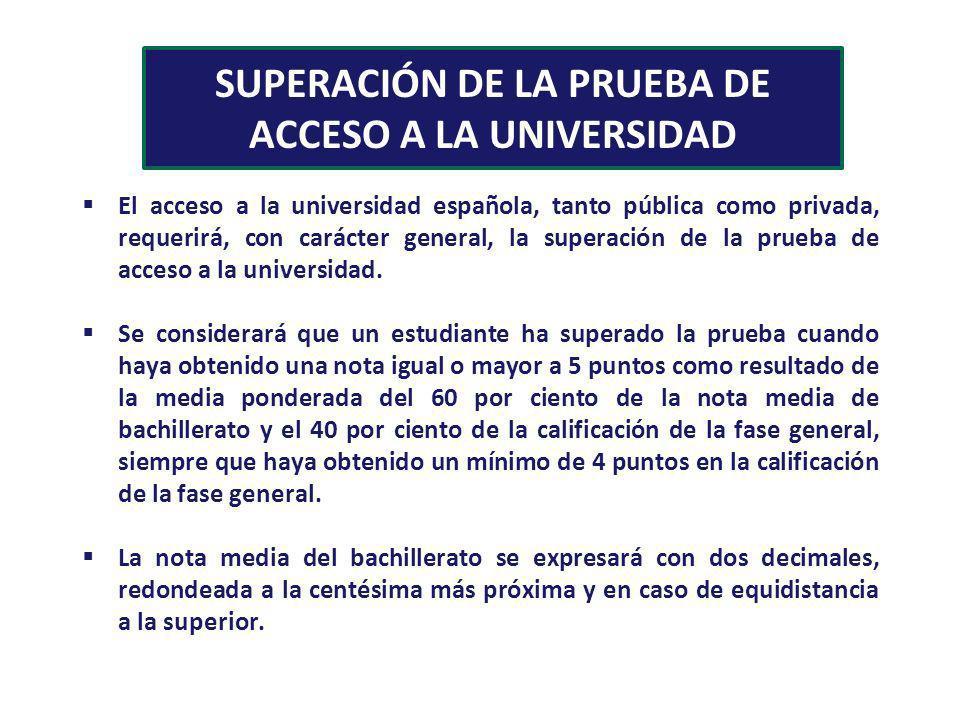 SUPERACIÓN DE LA PRUEBA DE ACCESO A LA UNIVERSIDAD El acceso a la universidad española, tanto pública como privada, requerirá, con carácter general, l