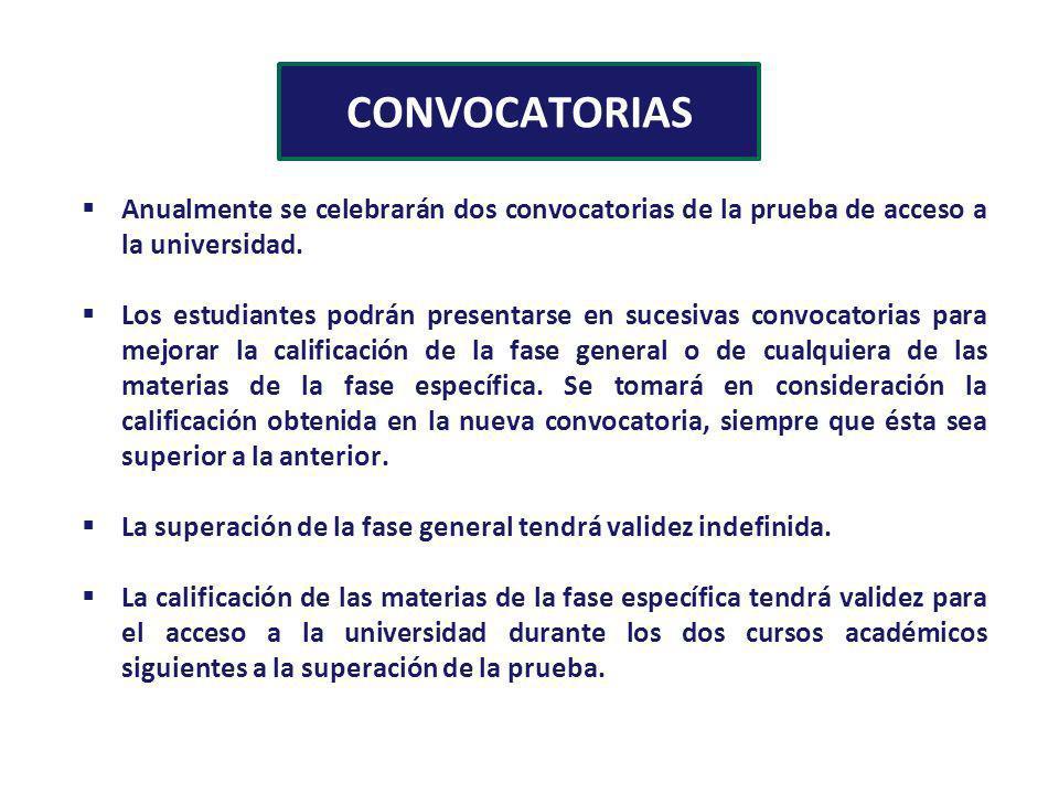CONVOCATORIAS Anualmente se celebrarán dos convocatorias de la prueba de acceso a la universidad. Los estudiantes podrán presentarse en sucesivas conv