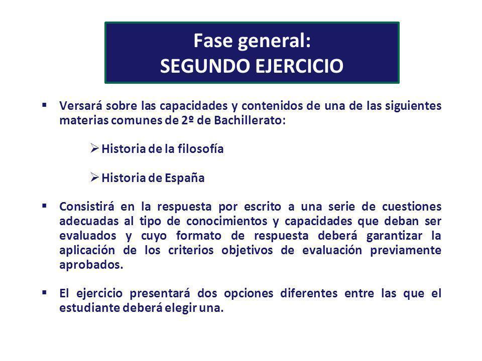 Fase general: SEGUNDO EJERCICIO Versará sobre las capacidades y contenidos de una de las siguientes materias comunes de 2º de Bachillerato: Historia d