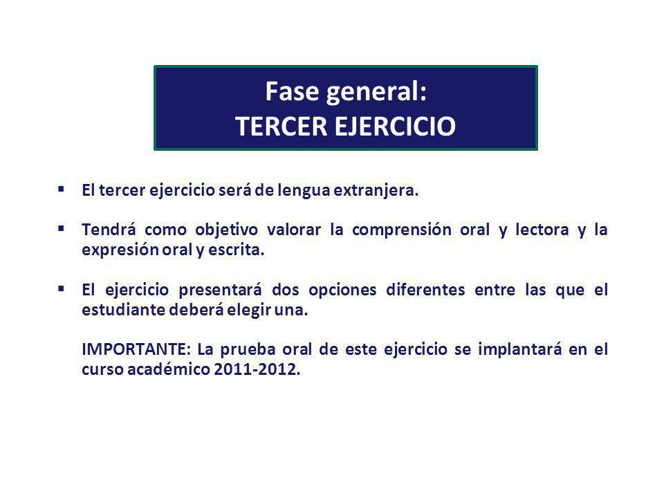 Fase general: TERCER EJERCICIO El tercer ejercicio será de lengua extranjera. Tendrá como objetivo valorar la comprensión oral y lectora y la expresió