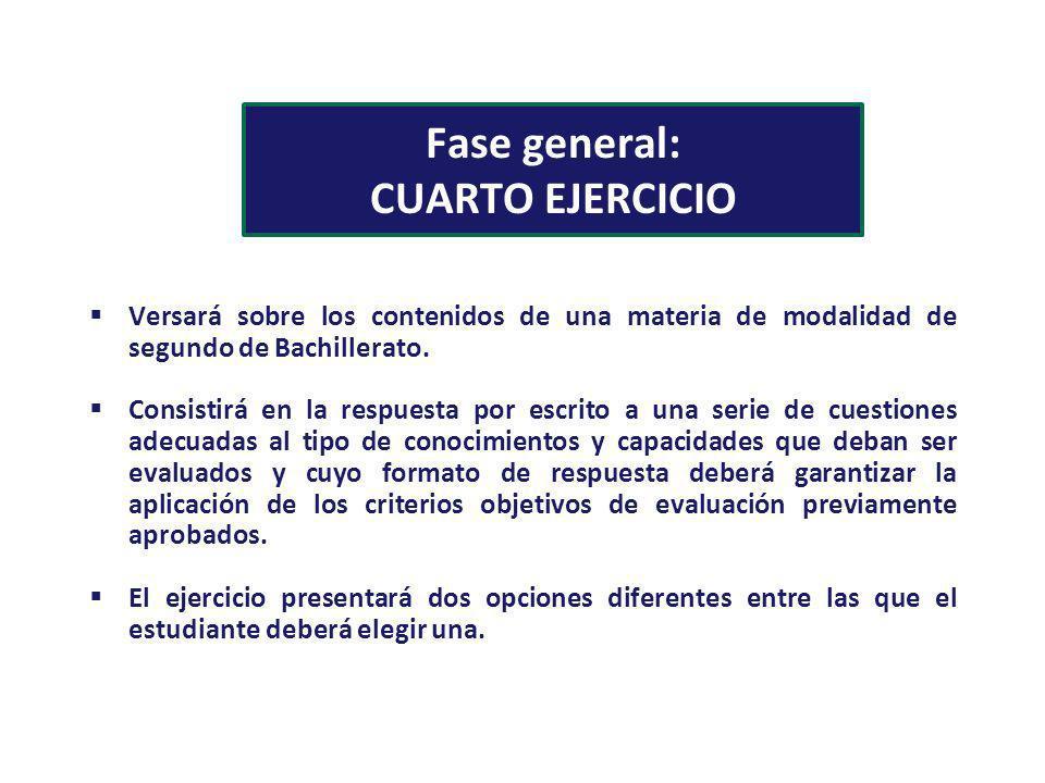 Fase general: CUARTO EJERCICIO Versará sobre los contenidos de una materia de modalidad de segundo de Bachillerato. Consistirá en la respuesta por esc