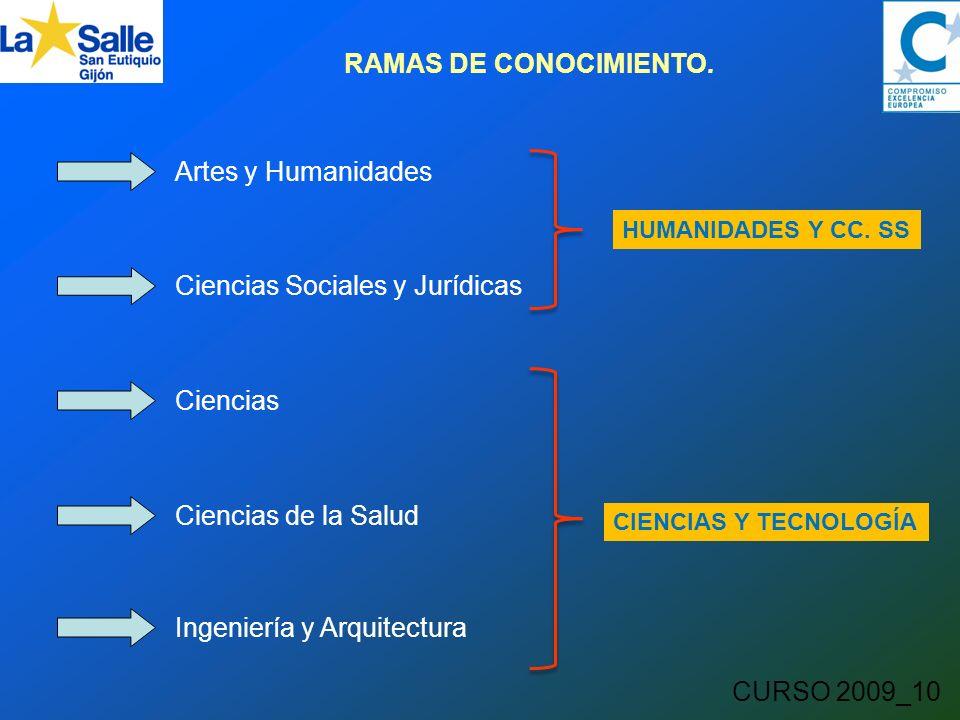 CURSO 2009_10 RAMAS DE CONOCIMIENTO.