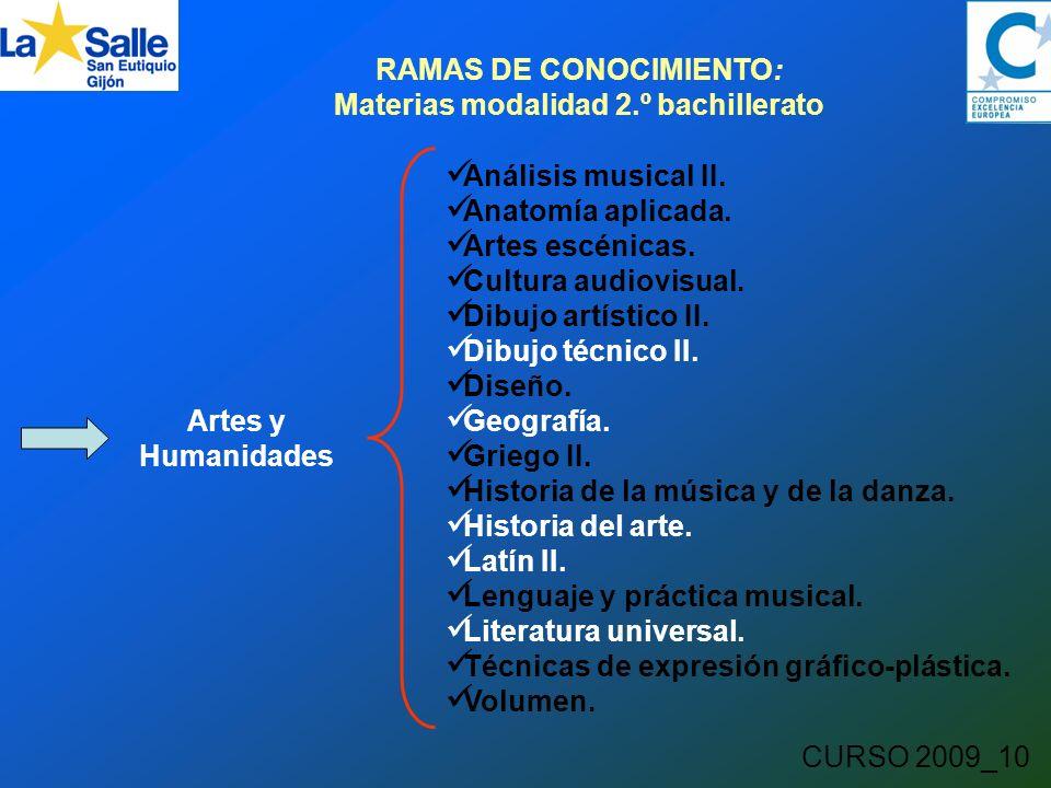 CURSO 2009_10 RAMAS DE CONOCIMIENTO: Materias modalidad 2.º bachillerato Artes y Humanidades Análisis musical II.
